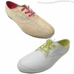 Low-cut Ladies' Flat Casual Shoe, Made of Canvas and Perforation Genuine Leather Materials