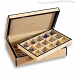 Luxury 30 Cufflink Box in Blond Wood