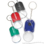 Magnifying Glass Keychains with LED Light, made of plastic.