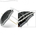 Manual Open Stick Umbrella with Lace and Wood like Plastic Handle