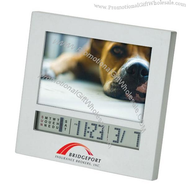 Matte Silver Photo Frame W/ Calendar & Digital Clock