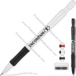 Mechanical pencil with 0.7mm lead and large white eraser and black grip.