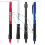 Mechanical pencil with side lead advance mechanism and black rubber grip.