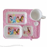 Melamine Baby Tableware Set, Bowl, Plate, Cup, Spoon and Fork
