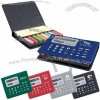 Memo Case With 8 Digit Solar Calculator Lid With Colored Note Pad & Flags
