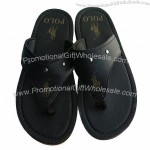 Men's High-quality Letter Slippers, Leather Upper, EVA Insole, RB Outsole