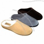 Men's Slippers with Cow Suede Upper, TPR Outsole and Mirco Terry Lining