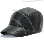Mens Black Genuine Leather Hat