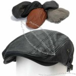 Mens Faux Leather Flat Cap Gatsby Cabbie Ivy Irish Hat Newsboy