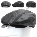 Mens Genuine Leather Flat Cap Gatsby Cabbie Ivy Irish Hat Newsboy