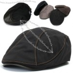 Mens Leather Bill Flat Cap Cabbie Gatsby Newsboy Hat