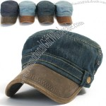 Mens Vintage Denim Cadet Faux Leather Brim Military Hat