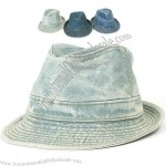 Mens Womens Denim Constructed Trilby Fedora Jean Gangster Hat