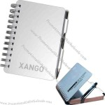 Metal address book and black ink pen with 45 ruled paged notebook