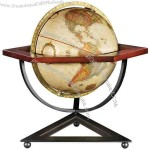 Metal base is triangular, wood hexagonal globe support & the globe is circular