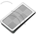 Metal chrome plated with light gray/dark gray checkered pattern money clip.
