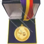 Metal Medal, Gold, Silver, Bronze Colors Are Available, With Ribbon, In Blue Velvet Box Packing