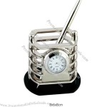 Metal Pen Holder With Clock