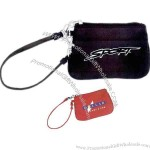 Micro fiber wristlet with PVC backing, easy access to open zipper pouch