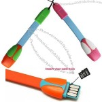Mini Digital Phone Strap, 3-In-1 With Charging, Sync And Card Reader