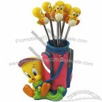 Mini Golf Duck Polyresin Craft with Stainless Steel Fruit Fork Set