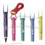 Mini plastic ballpoint pen with vibrant colors and color matching rope.