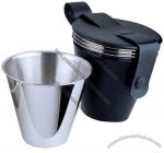 Mini Stainless Steel Silver Drinking Cup with Leather Pouch