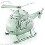 Money Bank - Helicopter - Pewter Look Finish