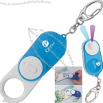 Money detector key chain with magnifier white LED and UV LED.