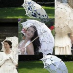 Multi-colors lace parasol umbrella for Wedding