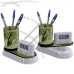 Multifunctional Pen Holder with Clock and Clip Container(1)
