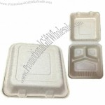 Natural Wheat Straw 9 x 9-inch Compostable Disposable 3 Com Clamshell