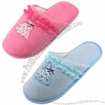 New Arrival Women's Terry Cloth Slipper with Printed Super Fleece Upper and TPR Sole