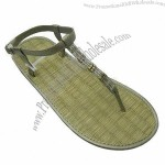 New Arrivals of Women's Straw Mat Slipper with Beads on PU Upper, EVA Sole