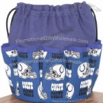 NFL Indianapolis Colts on Royal Blue Canvas Bingo Bag Tote 10 Dauber Pockets