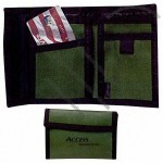 Nylon wallet with velcro closure for both change and main pockets