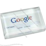 Optic Crystal Business Card Paperweight with Digi-Color
