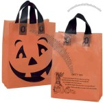 Orange Frosted Halloween Design Pumpkin Shopping Bag With Gusset