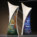 Painted Marble Crystal Award Trophy