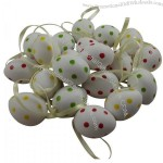 Painted Wooden Assorted Polka Dot Easter Egg Decorations