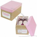 Paper Shoe Box with Diy Cowhide Paper Pink Folding Storage Box/Finishing Box