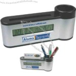 Pen holder with digital calendar, clock and thermometer.