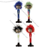 Pen with full head of colored hair and suction cup on soft feet.