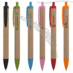 Pen with paper barrel with matching color accents, manufactured from corn.