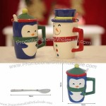 Penguin/Snowman Mug With Lid and Spoon