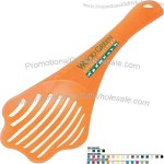 Pet litter scoop with paw shape.