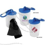 Pet waste bag dispenser with 20 poly bags included and carabiner attachment