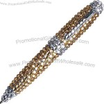 Petite size delightful gem-encrusted twist action pen.