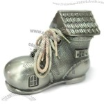 Pewter Baby Shoe Bank with House Design Top