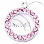 Photo Insert-able Pet Name Tag with Rhinestone for Dogs and Cats